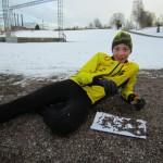 Viktor Svensk vilar under Sprintstafett 16 mars 2014